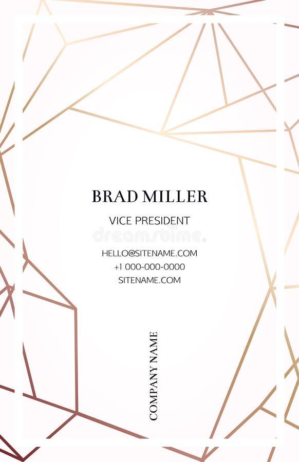 Rosa affärskort med en geometrisk modell royaltyfri illustrationer
