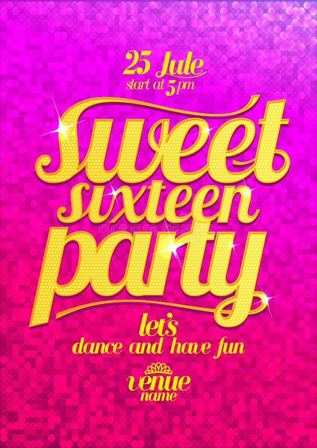 Rosa affisch för sött mode för sexton parti med guld- bokstäver royaltyfri illustrationer