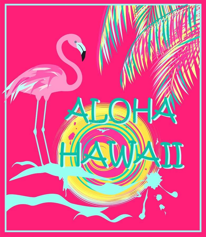 Rosa affisch med Aloha Hawaii bokstäver, neonpalmblad, flamingo och solen stock illustrationer