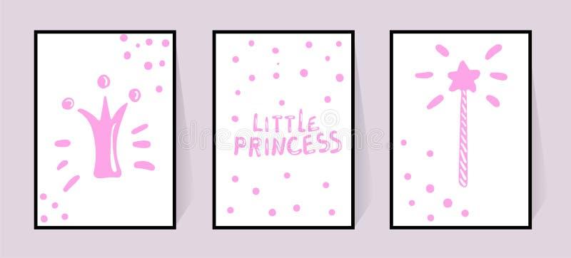 Rosa affischer med den lilla prinsessan f?r inskrifter, kronan och den magiska pinnemodellen i prickar Vektorn st?llde in f?r bar stock illustrationer