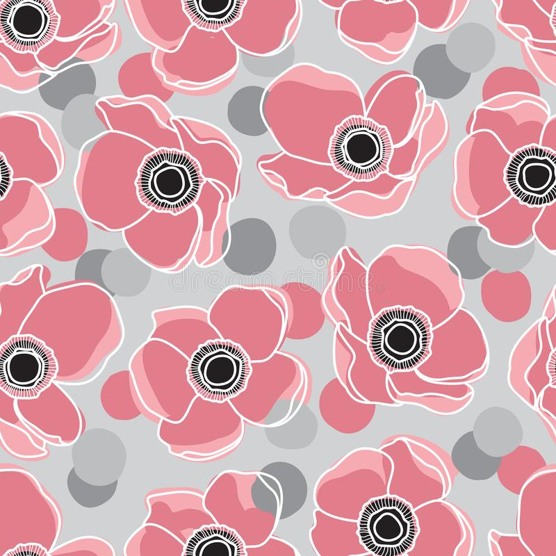 Rosa Anemone Flower Design Pattern auf Grey Background und Konfettis stock abbildung