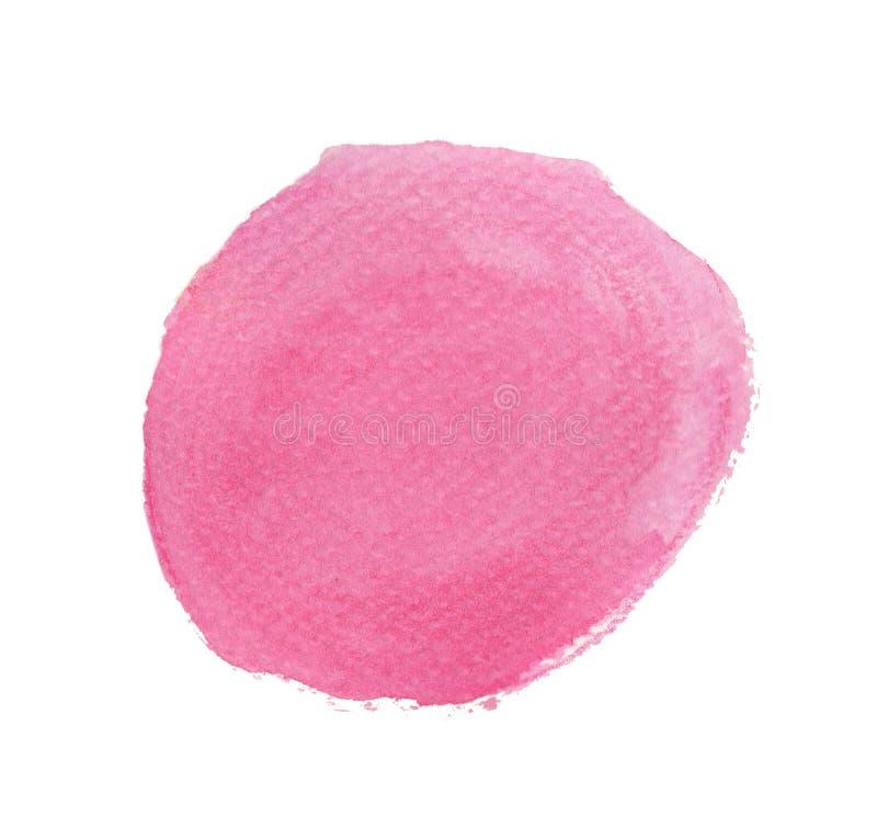 Rosa Aquarellkreis lokalisiert auf weißem Hintergrund, Handfarbenbeschaffenheit stock abbildung