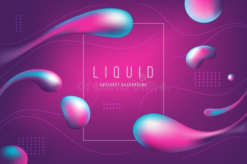 Rosa astratto ed insegna e fondo liquidi porpora della bolla illustrazione vettoriale
