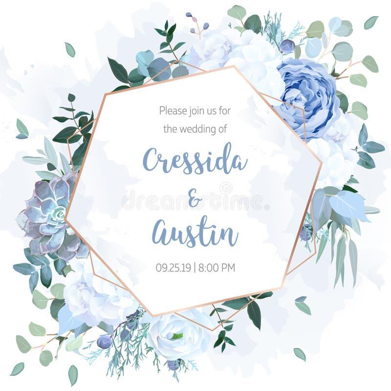 Rosa azul polvorienta, hortensia blanca, ranúnculo, eucalipto, enebro libre illustration