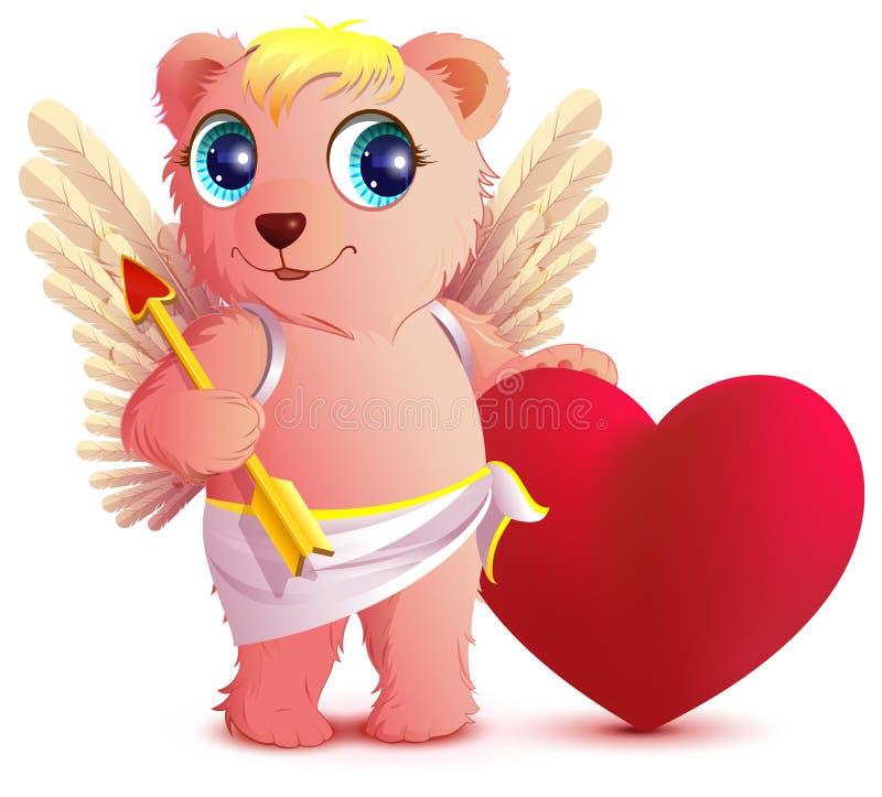 Rosa Bärnengel mit Flügeln hält Herz und Pfeil Hearts des Postkarte-Valentinsgrußes auf einem roten Hintergrund stock abbildung