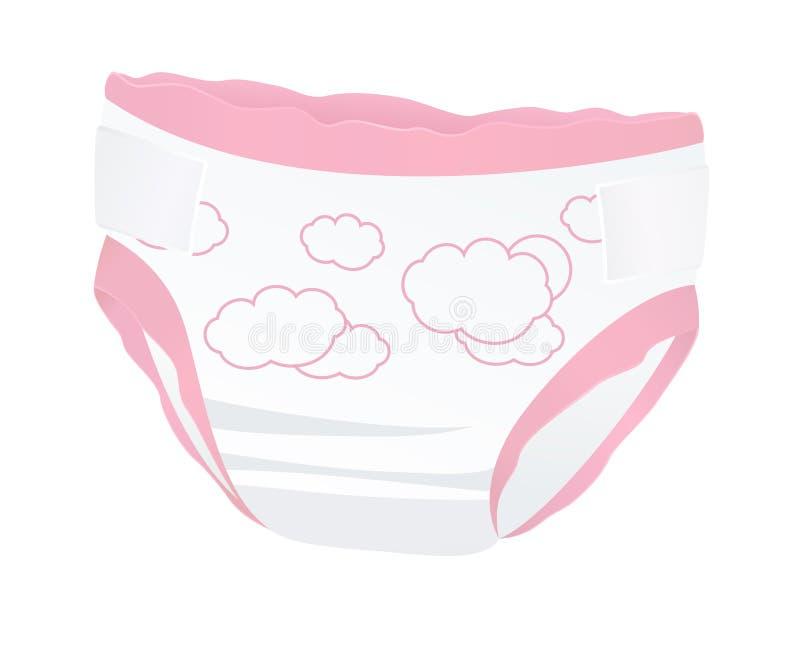 Rosa Babywindeln für Mädchen mit. Lokalisierter Vektor stock abbildung