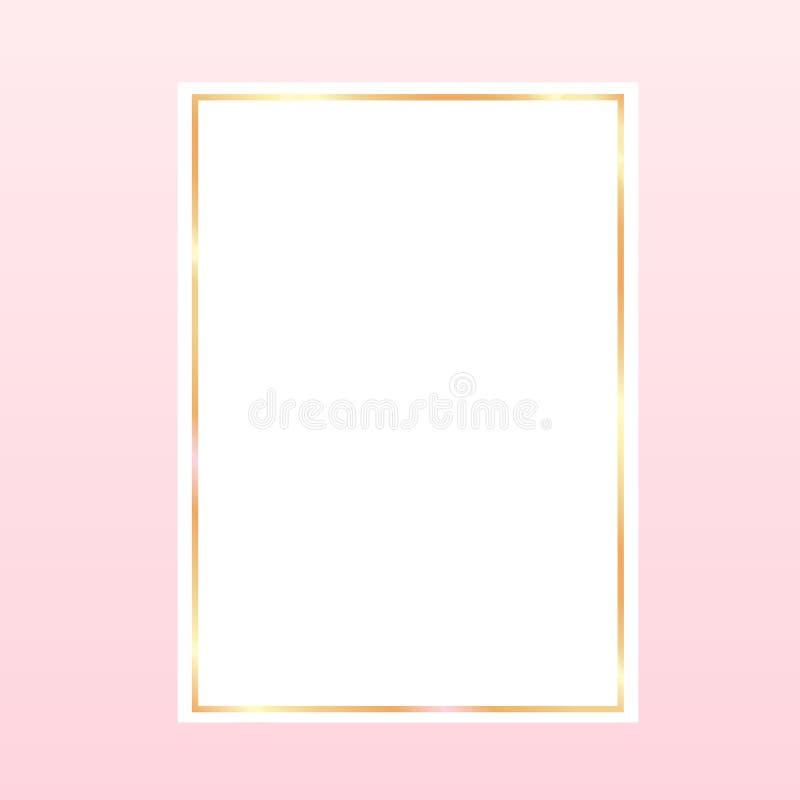rosa backgroundwith en guld- ram på vitbok vektor illustrationer