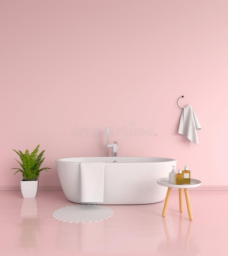 Rosa Badezimmerinnenraum, Wiedergabe 3D stock abbildung