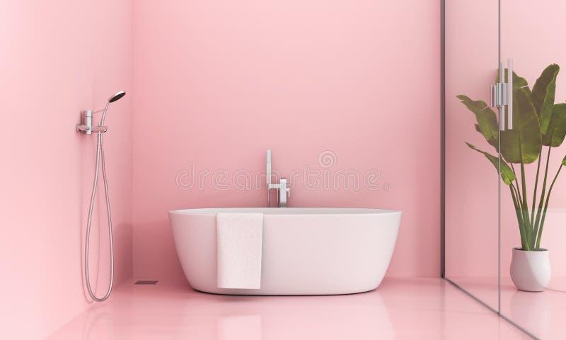 Rosa Badezimmerinnenraum, Wiedergabe 3D lizenzfreie abbildung