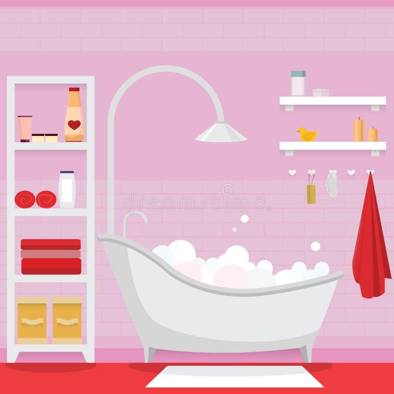 Rosa badrum för flicka stock illustrationer