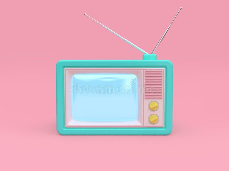 rosa bakgrund 3d för grön gammal televisiontecknad filmstil att framföra teknologibegrepp stock illustrationer