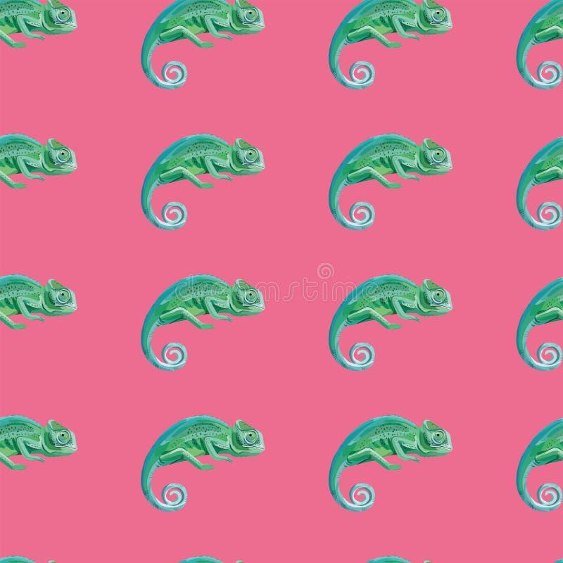 Rosa bakgrund för grön modell för kameleont sömlös royaltyfri illustrationer