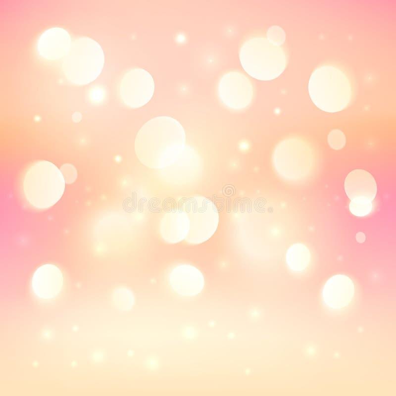Rosa bakgrund för ljus effekt för bokeh glänsande royaltyfri illustrationer