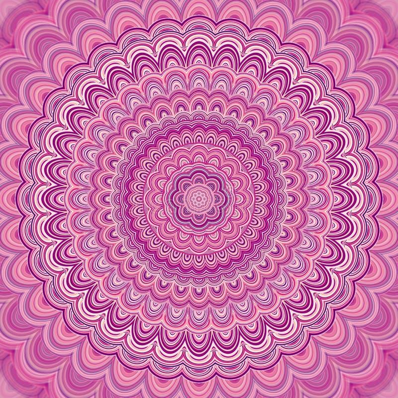 Rosa bakgrund för mandalafractalprydnad - grafisk design för rund symmetrisk vektormodell från koncentriska ellipser royaltyfri illustrationer