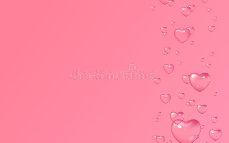 Rosa bakgrund för vektor med bubblor i form av hjärtor, valentin dag, kvinnors dag vektor illustrationer