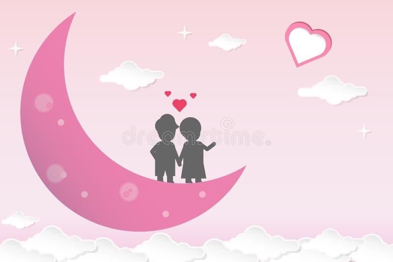 Rosa bakgrund för vektorvalentindag i papperssnitt Par som står på den purpurfärgade månen som kysser och ser en hjärtaform Par l stock illustrationer