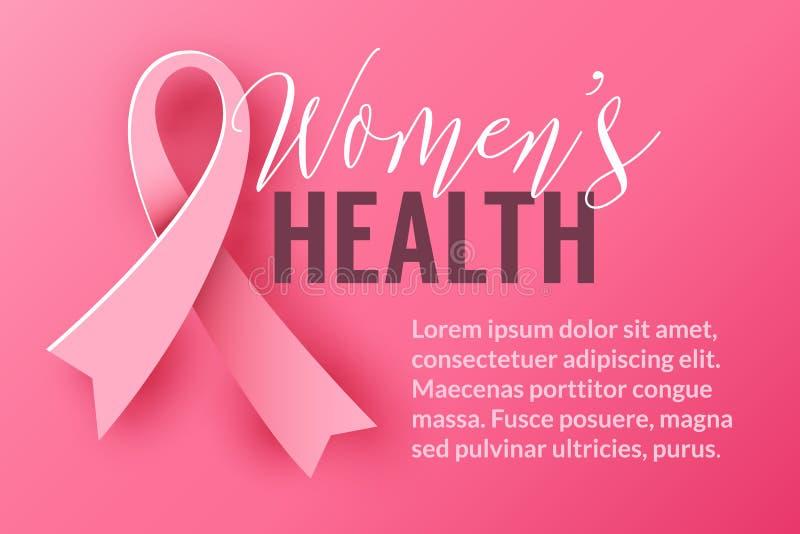 Rosa bakgrund med bandsymbol Aktion för månad för Oktober bröstcancermedvetenhet royaltyfri illustrationer