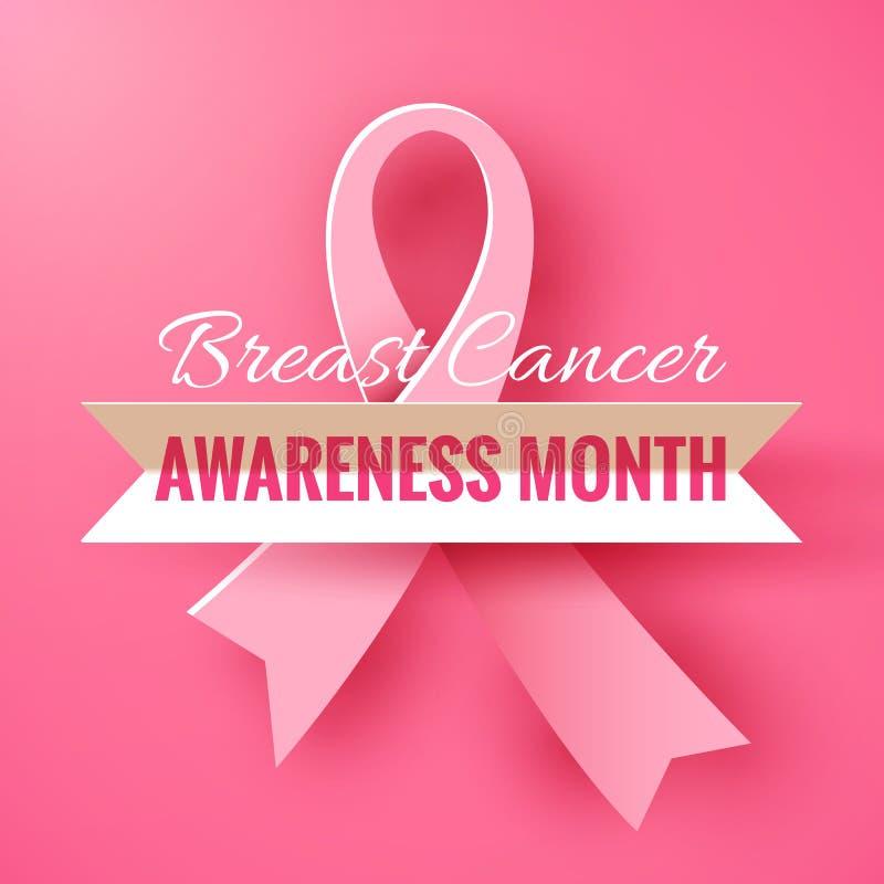 Rosa bakgrund med det pappers- bandet Aktion för månad för Oktober bröstcancermedvetenhet vektor illustrationer