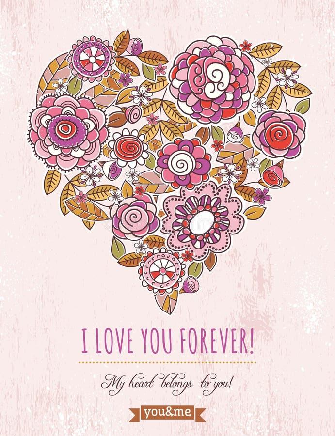 Rosa bakgrund med valentinhjärta av vårfloen vektor illustrationer