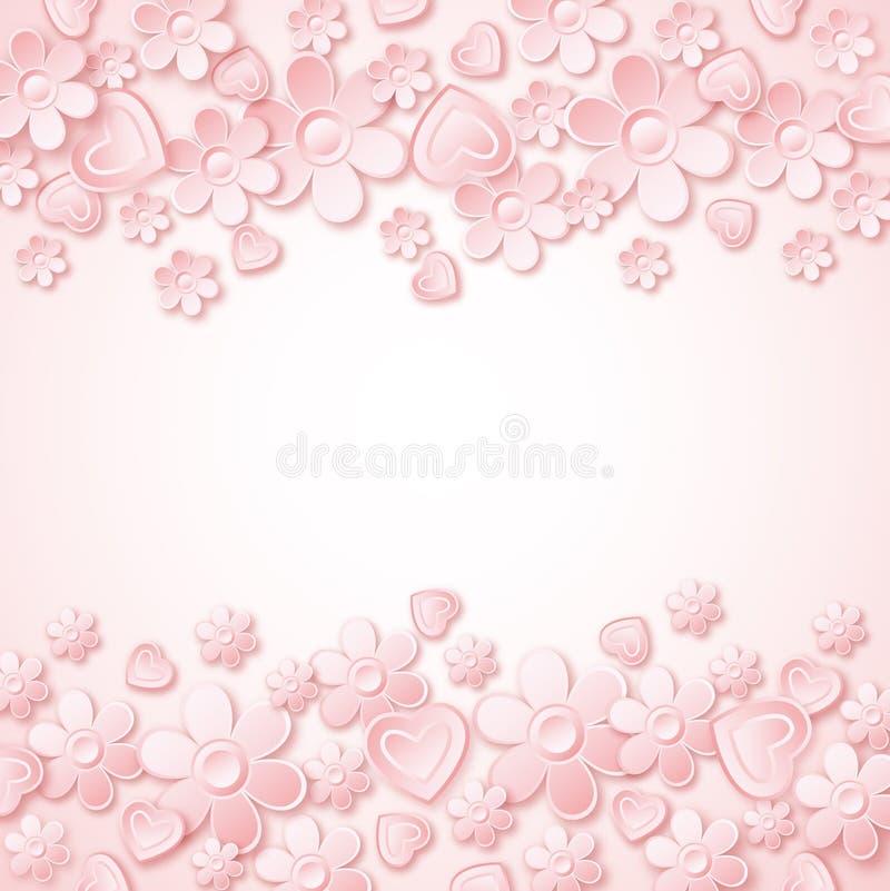 Rosa bakgrund med valentinhjärtor och blommor stock illustrationer