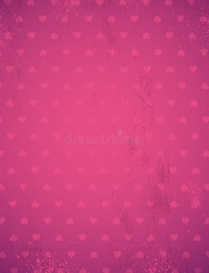 Rosa bakgrund med valentinhjärtor, vektor vektor illustrationer