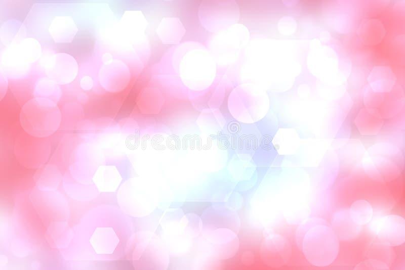 Rosa bakgrundstextur för abstrakt purpurfärgad lutning med suddiga bokehcirklar, polygoner och ljus Utrymme för design stock illustrationer