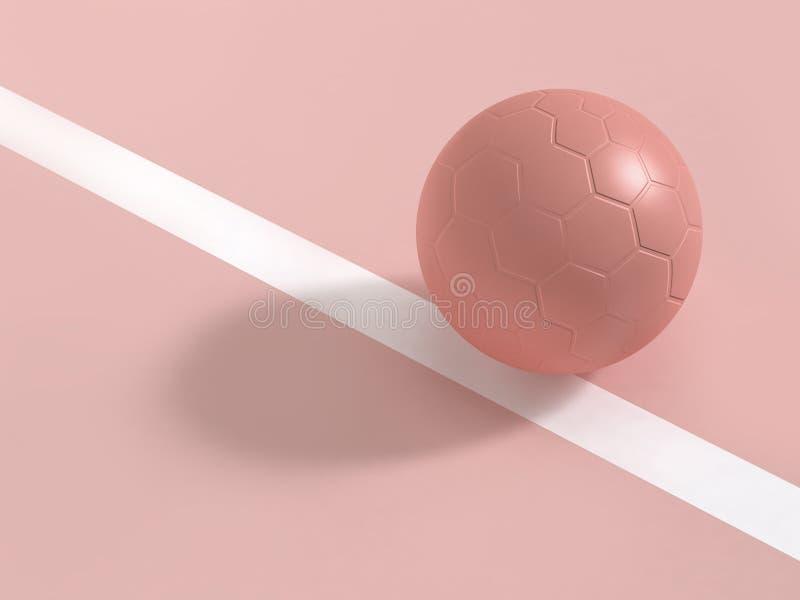 Rosa Ball auf weißer Linie 3d des Bodens übertragen stockfoto
