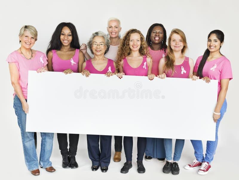 Rosa Band-Brustkrebs-Bewusstseins-Kopien-Raum-Fahnen-Konzept lizenzfreie stockfotos