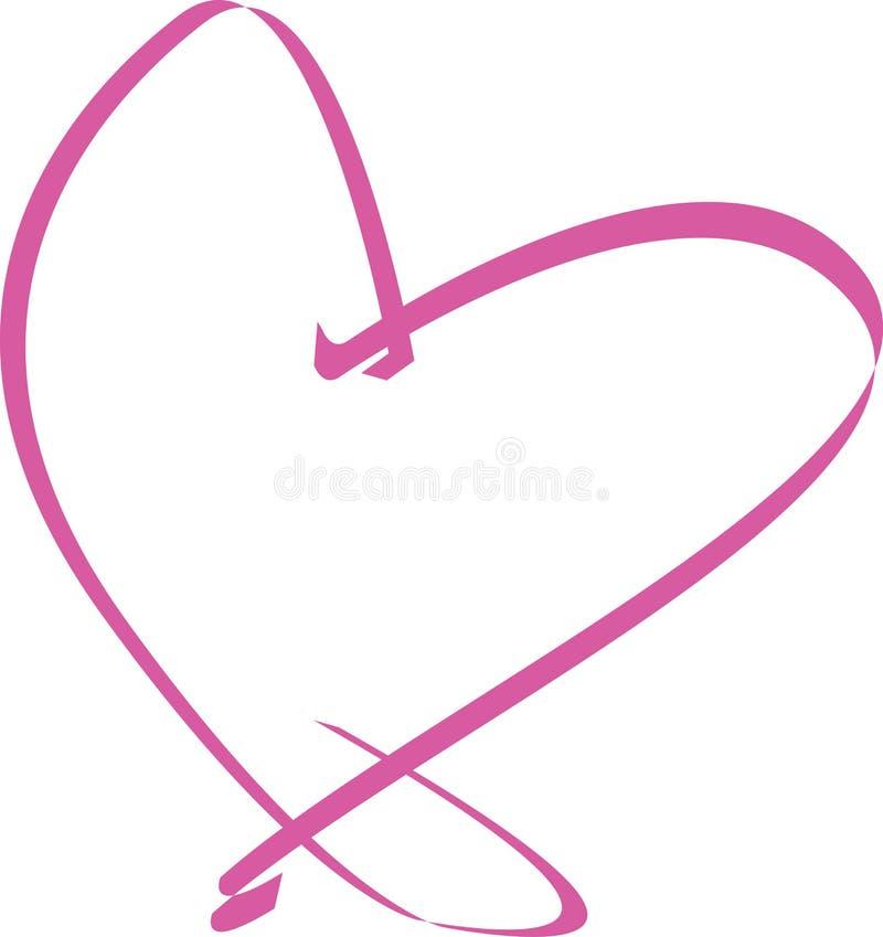 rosa band för hjärta stock illustrationer