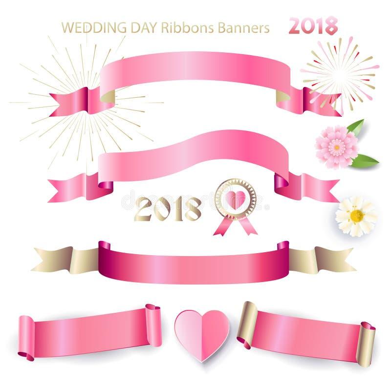 Rosa band och baner ställde in bröllopdag royaltyfri illustrationer
