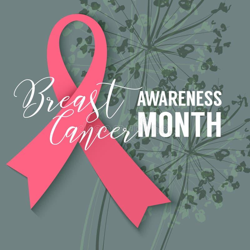 Rosa band på blom- bakgrund Aktion för månad för Oktober bröstcancermedvetenhet stock illustrationer