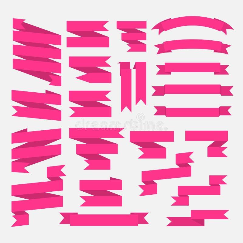 Rosa band ställde in i plan stil isolerat på vit vektor illustrationer
