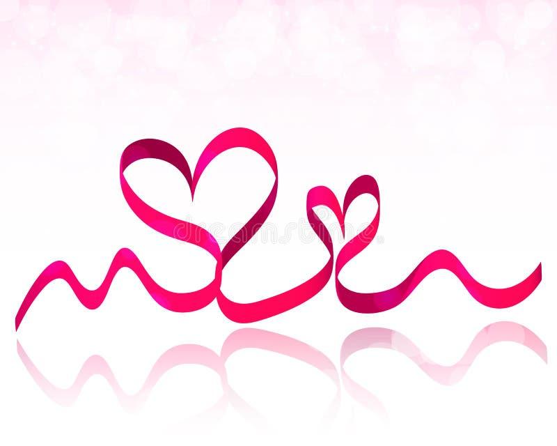 Rosa bandhjärtor Vektor för valentindagbakgrund royaltyfri illustrationer