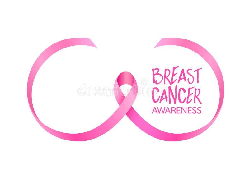 Rosa bandkurva i bröstform Aktion för bröstcancermedvetenhetmånad stock illustrationer