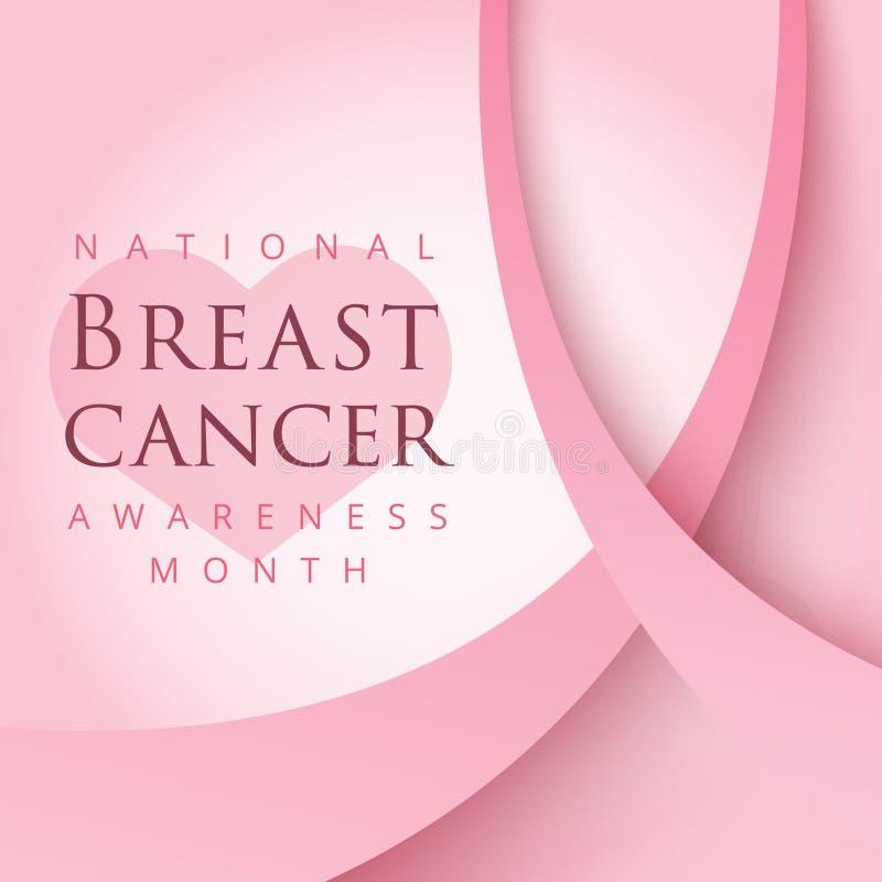 Rosa bandsymbol för nationell bröstcancermedvetenhetmånad in stock illustrationer
