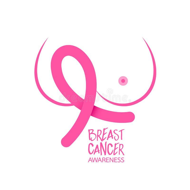 Rosa bandsymbol med diagrammet av bröstet royaltyfri illustrationer