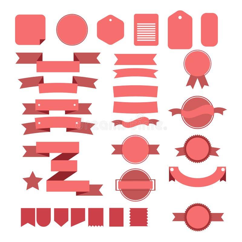 Rosa banduppsättning som isoleras på vit bakgrund vektor illustrationer