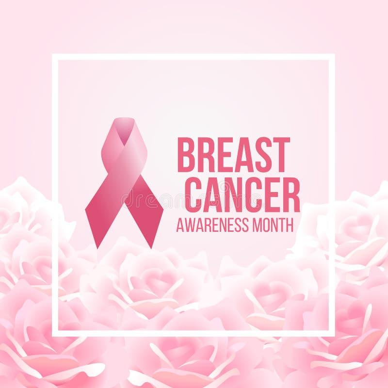 Rosa Bandzeichen und Brustkrebs-Bewusstseinsmonat simsen im weißen Rahmen- und weich Rosarosenzusammenfassungsblumenhintergrund-V vektor abbildung