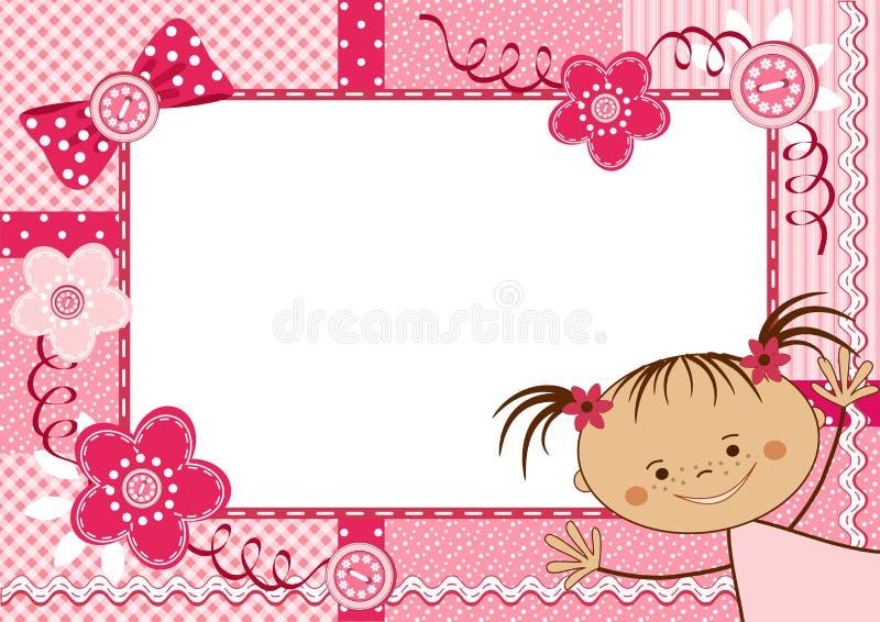 Rosa barnram. stock illustrationer