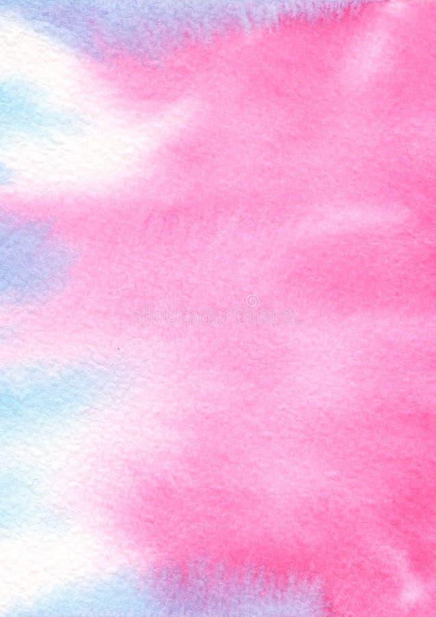 Rosa blå färgvattenfärgbakgrund arkivfoto