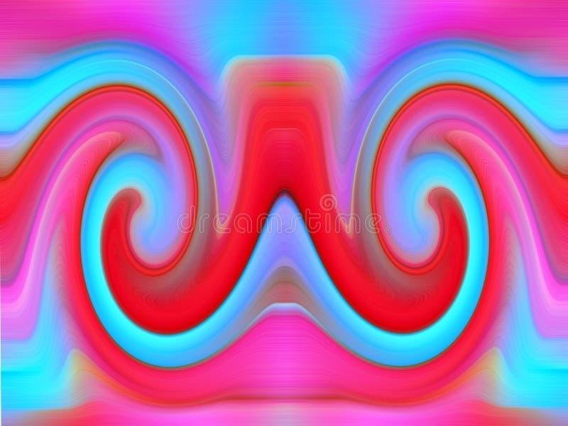 Rosa blå röd bakgrundsabstrakt begreppspiral stock illustrationer
