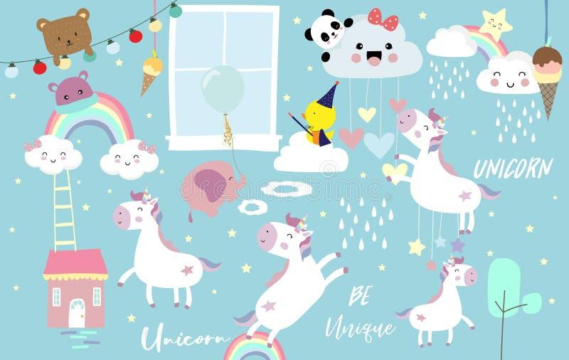 Rosa bl? violett hand som dras med hj?rta, molnet, enh?rningen, bj?rnen, pandan, elefanten och regn vektor illustrationer