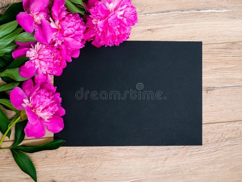 Rosa blom- blandade rosa färger blommar på träbakgrund med fritt utrymme för svartpapper, kopieringsutrymme för tekst arkivbild