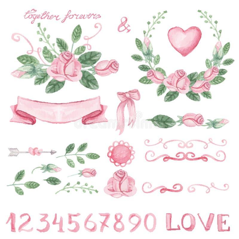 Rosa blom- dekoruppsättning för vattenfärg med nummer vektor illustrationer
