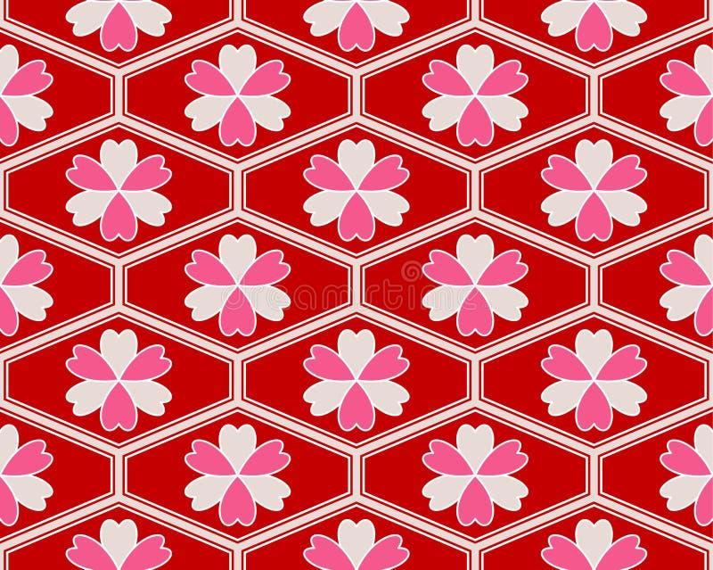 Rosa blom- hjärta Art Seamless Pattern för japansk hippie vektor illustrationer