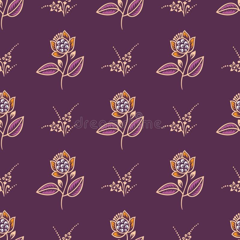 Rosa blommamodell för sömlös liten tappning vektor illustrationer