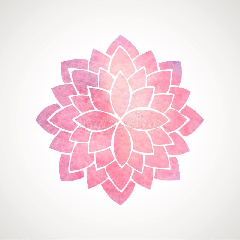 Rosa blommamodell för vattenfärg Kontur av lotusblomma mandala stock illustrationer