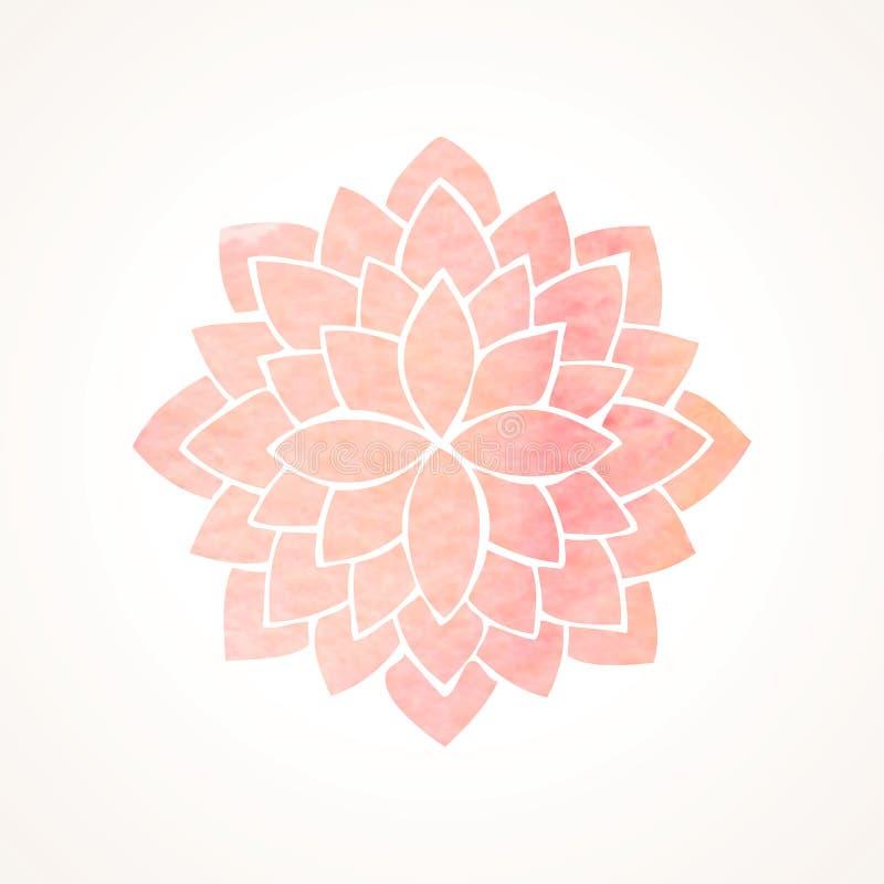 Rosa blommamodell för vattenfärg Kontur av lotusblomma mandala vektor illustrationer