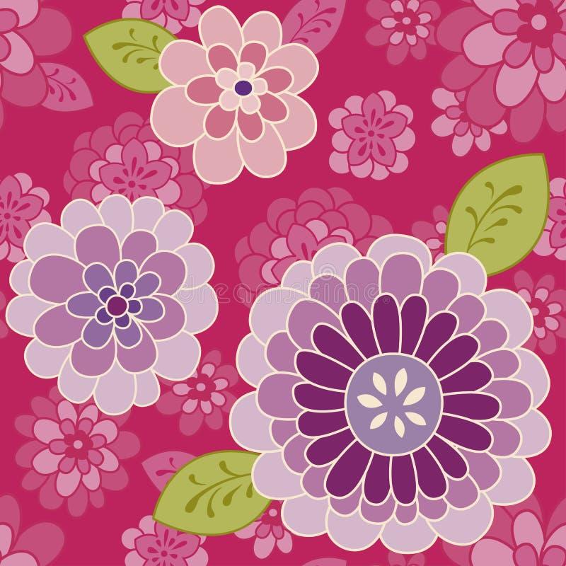 Rosa blommamodell | Seamless bakgrund för vektor royaltyfri illustrationer