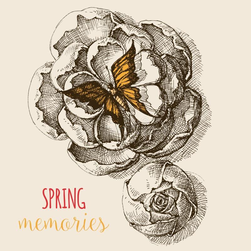 Rosa blommor som ses från över stock illustrationer